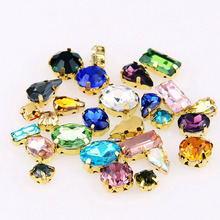 Mix Size And Mix  Shape Transparent Glass Sew On Rhinestone With Four Gold Claw Apply To DIY Clothing Decoration 100pcs