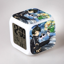 Japanese Anime Sword Art Online SAO Seven Color Change Glowing Alarm Clock 140081(China)