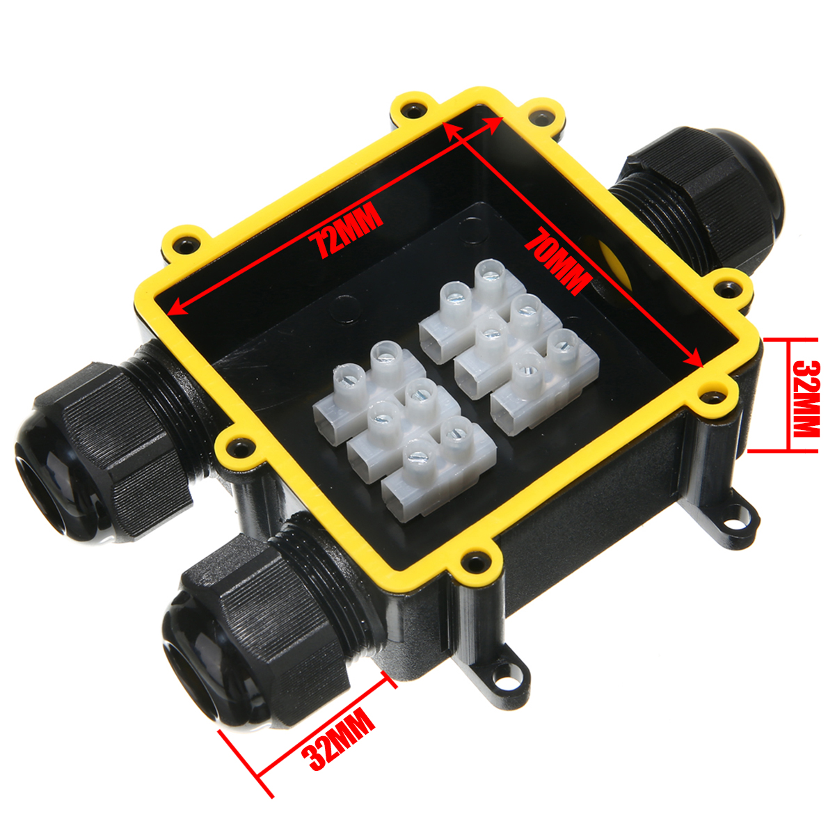 1pc Outdoor External Junction Box 3 Way Plastic Waterproof Electrical Junction Box Cable Wire Connector IP68 Distribution Case