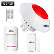 Wireless Flash strobe Indoor Siren Alarm Horn Red sound light siren burglar security alarm system +PIR door sensor Alarm