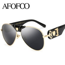 AFOFOO New Fashion Sunglasses Metal Leather Decoration Frame Luxury Brand Designer Women Mirror Sun glasses Men UV400 Shades(China)