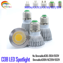Super Bright E27 E14 MR16 GU10 Bulbs Light Dimmable Led Warm/Cool White 85-265V 9W 12W 15W COB LED lamp light e27 led Spotlight