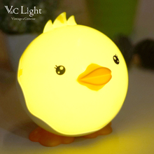 Fonkin Cute Duck USB LED Night Light Touch-control Dimmable Rechargeable Intelligent Table Lamp for Children's Bedroom Bathroom(China)