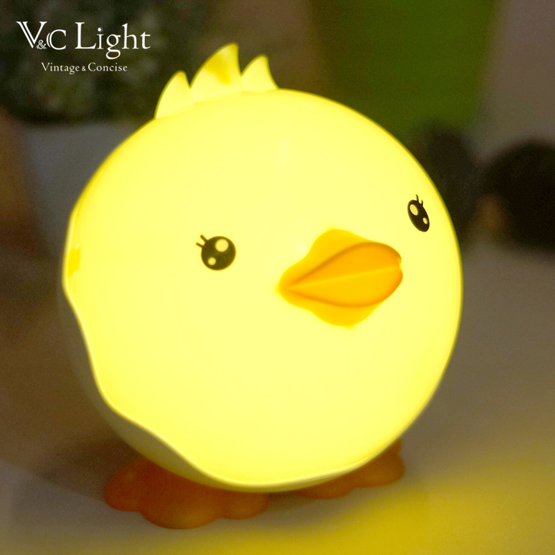 Fonkin Cute Duck USB LED Night Light Touch-control Dimmable Rechargeable Intelligent Table Lamp for Children's Bedroom Bathroom(China (Mainland))