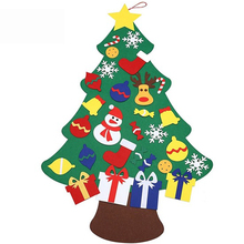 Kids DIY Felt Christmas Tree Set with Ornaments Snowman Children Gift Door Wall Hanging Xmas Decoration Preschool Toddler Craft(China)