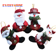 2017 New Year Wholesale 24pcs/lot Red Santa Pendant Christmas Tree Hanging Ornaments Crafts for Home Decor Supplies SD206(China)