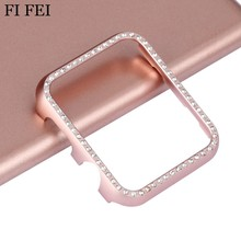 FI FEI New Aluminum Bling Crystal Diamonds Cover Case Apple Watch 38mm 42mm Watch Metal Alloy Frame Protective Perfect Cases
