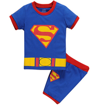 Summer Children's Pijamas Kids Boys Girls Pyjamas Short Sleeve Super Hero Pajamas Minnie Spiderman Superman Clothing Sets