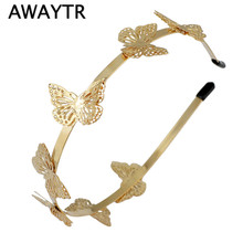 Butterfly Hair Accessories 2017 New Women Gold Plated Butterfly Headband Hairband Fashion Metal Gold Hair Jewelry(China)