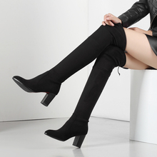 Big Size Faux Suede Stretch thigh high boots Women over the knee high boots Ladies Autumn winter lace up  High heel boots