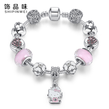 Shipinwei 2017 Lovely Jewelry charm Bracelets & Bangles Pink Crystal Bead Daisy Kitty cat Bracelets for Girl Gift