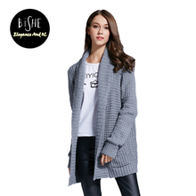 BiSHE Women Cardigan Spring Autumn Wool Cashmere Sweater Fashion Medium Long Loose Sweaters Sweater Jacket Female Outerwear Coat(China)