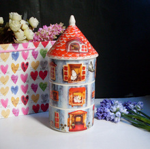 Cartoon MOOMIN Family Valley Series Unique Spire Tower Housing Storage Cans Candy House Fresh Vegetables Bowl Rice Bowl