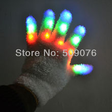 Free shipping 100pcs(50pairs) 7Modes led glove rave light led finger light gloves for event & party supplies(China)