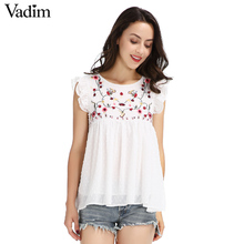 Vadim sweet floral embroidery pleated ruffled shirt cute sleeveless vintage doll blouse ladies summer casual tops blusas WT418(China)