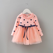 2017 Fashion Spring Autumn Babys girl kids Childrens Dress dresses Cotton Dots clothing Princess dress for girls costume
