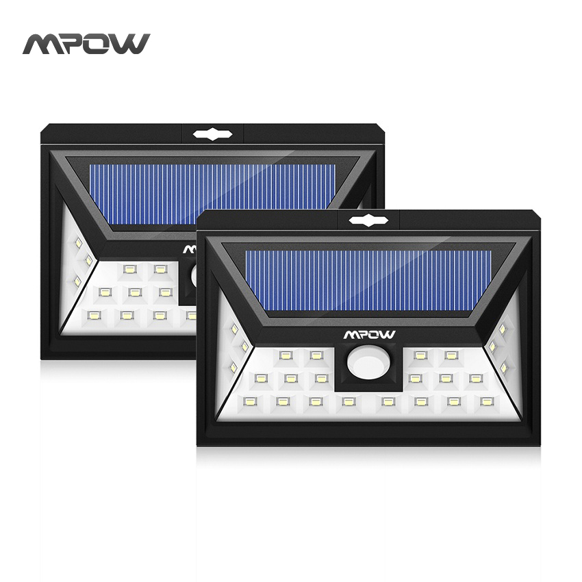 Mpow 24 LED 2 solar light IP65 waterproof Wide Angle Security Motion Sensor Light with 3 Modes Motion Activated for Patio Garden<br>