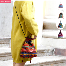 Hippie Boho Ethnic Printing Thai Sling Bag Purse Bohemian Drawstring Shoulder Cross-body Clutch Bag
