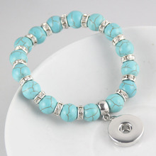 (6 pieces/lot) Wholesale Girls 10 Colors Created Imitation Gemstone Bracelet with Interchangeable 20mm Snap Pendant Charms