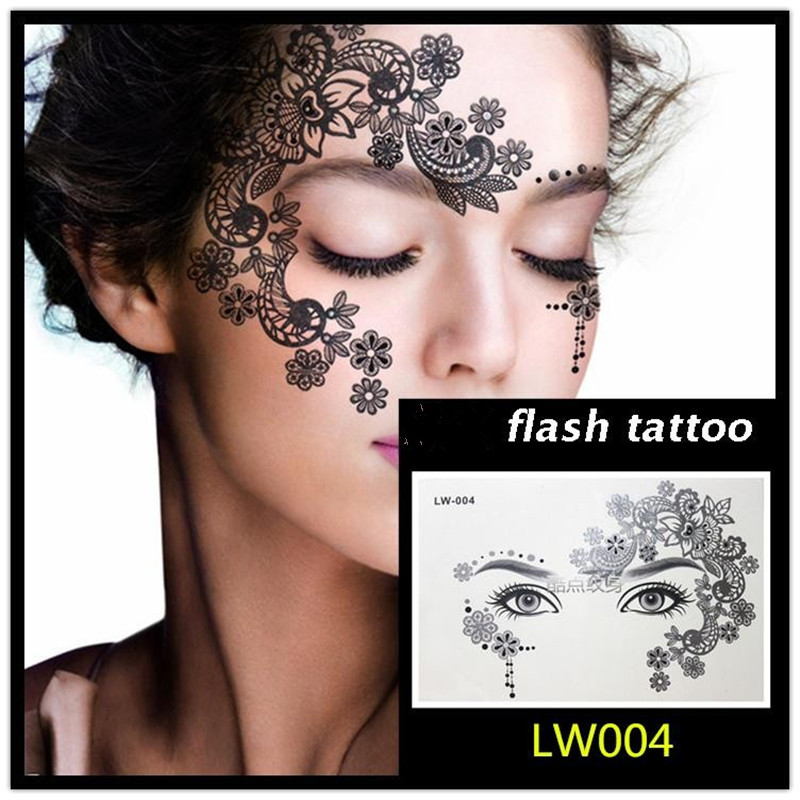 Hot sale Masquerade flash tattoo paste face temporary face stickers jewelry Arab India's large temporary tattoos makeup tattoo 6
