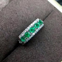 natural green emerald gemstone ring in 925 sterling silver fine jewelry for women ,Real zambia emerald Ring with box(China)