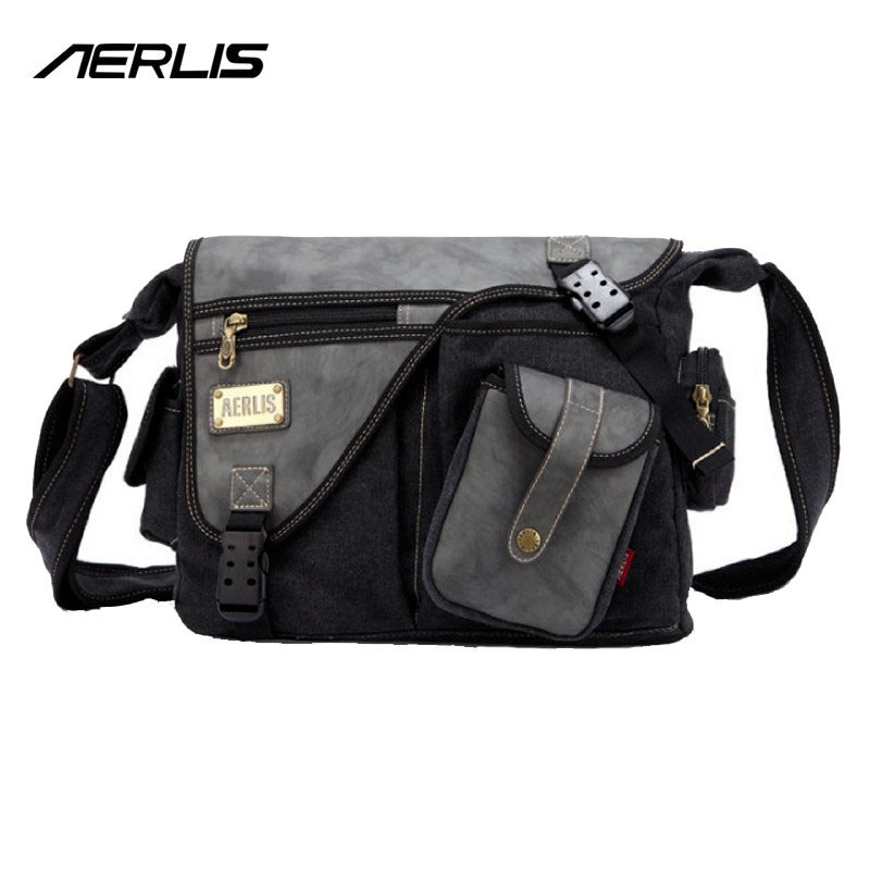 AERLIS Brand Men Handbag Canvas PU Leather Satchel Messenger Sling Bag Versatile Male Casual Crossbody Shoulder School Bags 4390<br>