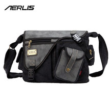 Buy AERLIS Brand Men Handbag Canvas PU Leather Satchel Messenger Sling Bag Versatile Male Casual Crossbody Shoulder School Bags 4390 for $27.55 in AliExpress store
