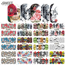 1Sheet Halloween Nail Sticker Skull/Flower Nail Art Water Transfer Decals Beauty Full Wraps Tattoo Watermark Tips LAA1093-1104(China)