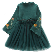 Buy Winter Princess Dress Long Sleeve Kids Dresses Girls Ball Gown Children Clothing Embroidery Girls Dress Tulle Bow Clothes for $16.99 in AliExpress store