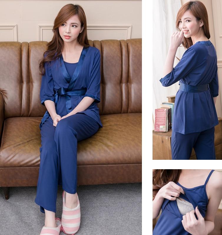 Maternity  Nursing Pajamas set Soft Comfortable Breastfeeding Sleepwear Maternity Pajama Nightgown European 3pcs Set<br>