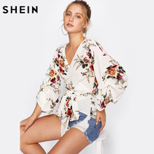 SHEIN Flower Print Gathered Sleeve Wrap Blouse White V Neck Puff Sleeve Elegant Blouse Autumn Floral Belted Blouse(China)