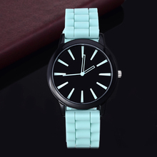 Silicone watch geneva women quartz relojes casual fashion sports watch 9 colors relojes unisex hot sale round dial wristwatch(China)