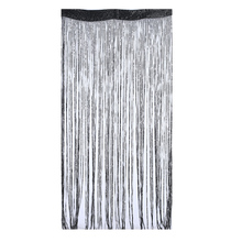Home Decor Shiny Tassel Flash Silver Line String Curtain Window Door Curtain Partition Encryption Flash 1*2m (Black)
