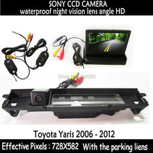 LCD Mirror Monitor+Wireless Car Reverse RearView Backup Camera Night Vision for Car Rearview Camera for Toyota Yaris 2006 - 2012