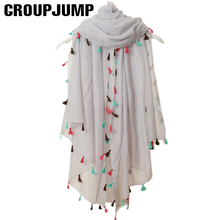 Fashion 2017 New Spring Summer Pure Color Voile Scarf Women Tassel Scarf Wrap Shawl and Scarf For Women cachecol feminino(China)