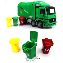 Big Size Jumbo Children's Large Man Side Loading Garbage Truck Can Be Lifted With 3 Rubbish Bin ABS Plastic Toy Car Gift Box New