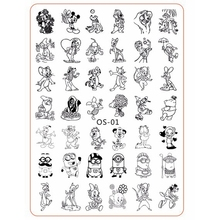 Cartoon Cute Animal Designs nail disk nail art image plate Stamping Template Mouse Cat Dog DIY Tools with Protective Back OS-01
