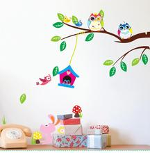 cartoon owls bird branch flowers wall stickers for kids room living room nursery 3D home decor vinyl pvc Backdrop stickers mural(China)