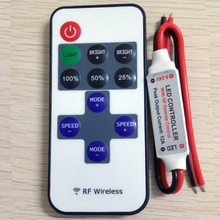 free shipping 12A 5V-24V LED RF Wireless Mini Remote Dimmer Controllers RF Wireless Remote LED Controller(China)
