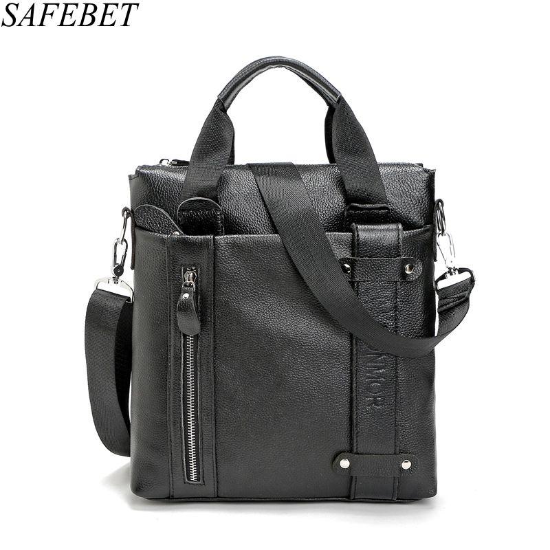 SAFEBET Brand Genuine Leather bag Fashion Men Messenger Business Mens Briefcase Designer Handbags High Quality Shoulder Bags<br>