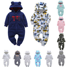 Baby Boy Girl Clothing set Thick Rompers Long Sleeve with Hooded soft cotton Fleece Zipper Bodysuit and Bebes Overalls(China)