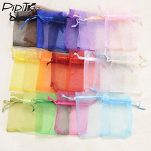 100pcs/lot,7x9 9x12cm Drawable Organza Bags Mix Color Wedding Christmas Gift Bags Candy Jewelry Packaging Organza Bags & Pouches