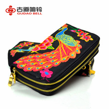 Double Zipper Embroidery Wallet Powered By Embroidery Coin Purse Handbags Buy 3 Pieces of Wholesale Support Drop Shipping(China)