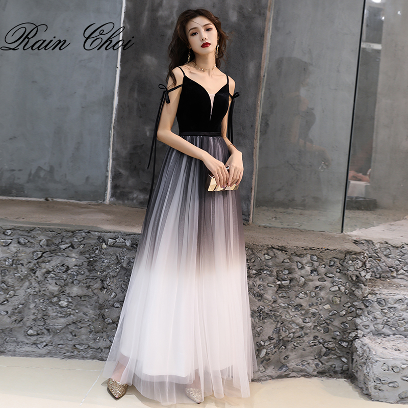 Evening Dress 2019 Vestido De Festa Tulle A Line Party Gowns Sexy Long Prom Dresses(China)