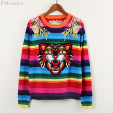 ENbeautter 2017 New Autumn Winter Tiger Head Sweater Embroidery Rainbow Striped Knitted Tops Luxury Fashion Pullovers Jerseys