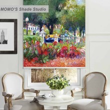 MOMO 100% Thermal Insulated Blackout Fabric Custom Painting Window Curtains Roller Shades Blinds,PRB set549-553