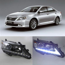 Ownsun Unique Arrow Shape LED DRL Headlight Bi-Xenon for 7th Toyota Camry 2011-13