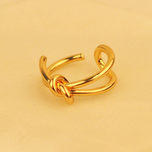 2017 New Fashion Punk Style Metal Tie Wrap Shaped Ring Bijoux Personality Doublelayer Adjustment Opening Rings For Women(China)