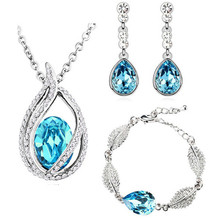 green fashion queen kate wedding bridal high quality austrian Crystal tear drop jewelry sets necklace earrings set