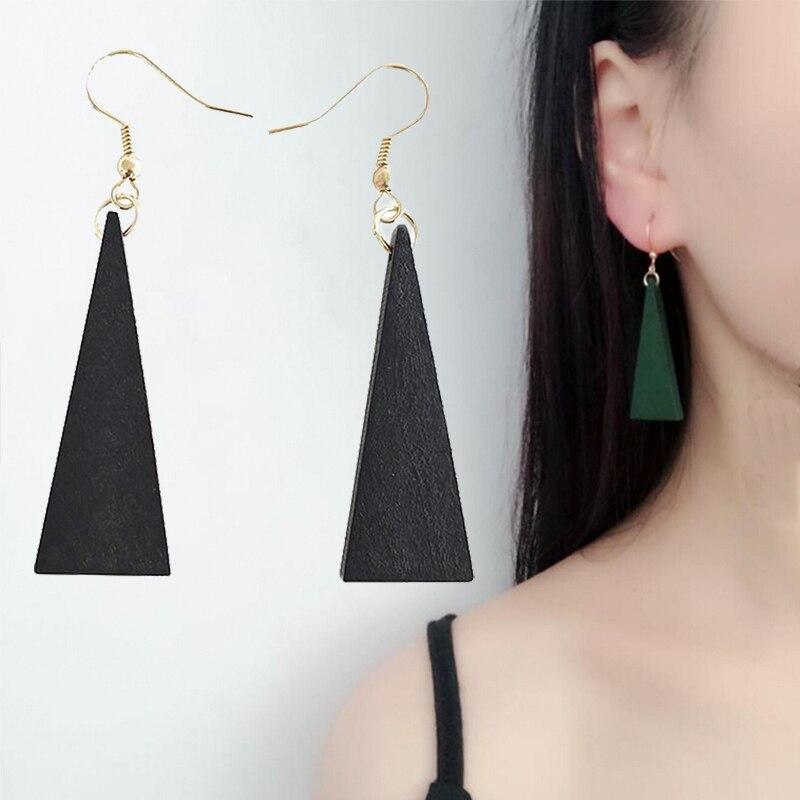2019 New Wood Geometric Dangle Earrings Handmade Triangle Ear Studs Drop Dangle Earrings Jewelry Gift For Girls